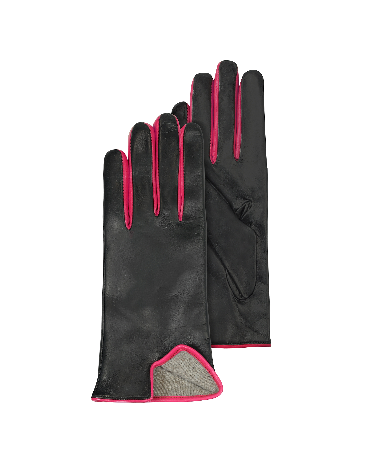 Black & Fuchsia Cashmere Lined Leather Ladies' Gloves от Forzieri.com INT