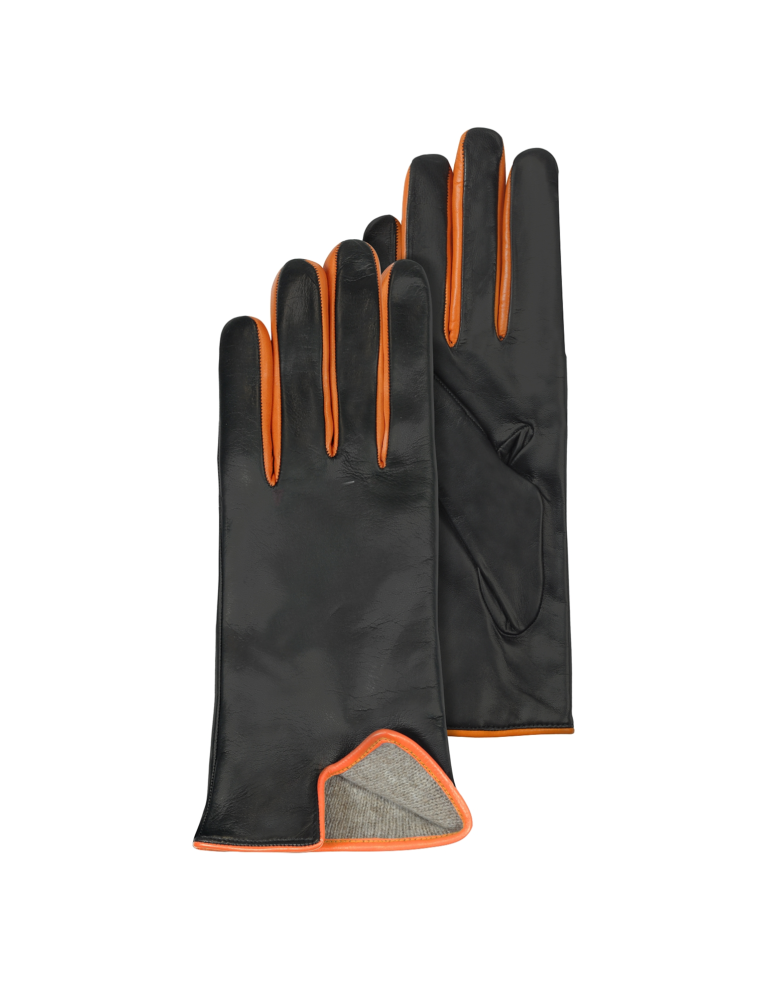Black & Orange Cashmere Lined Leather Ladies' Gloves от Forzieri.com INT