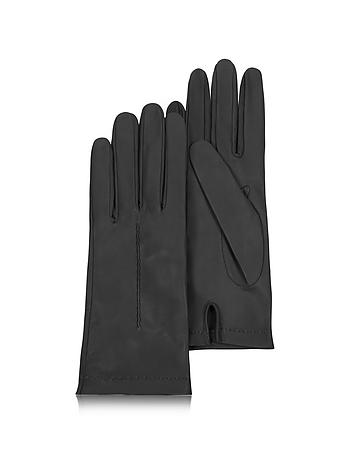 Women's Black Unlined Italian Leather Gloves fz18116-001-00