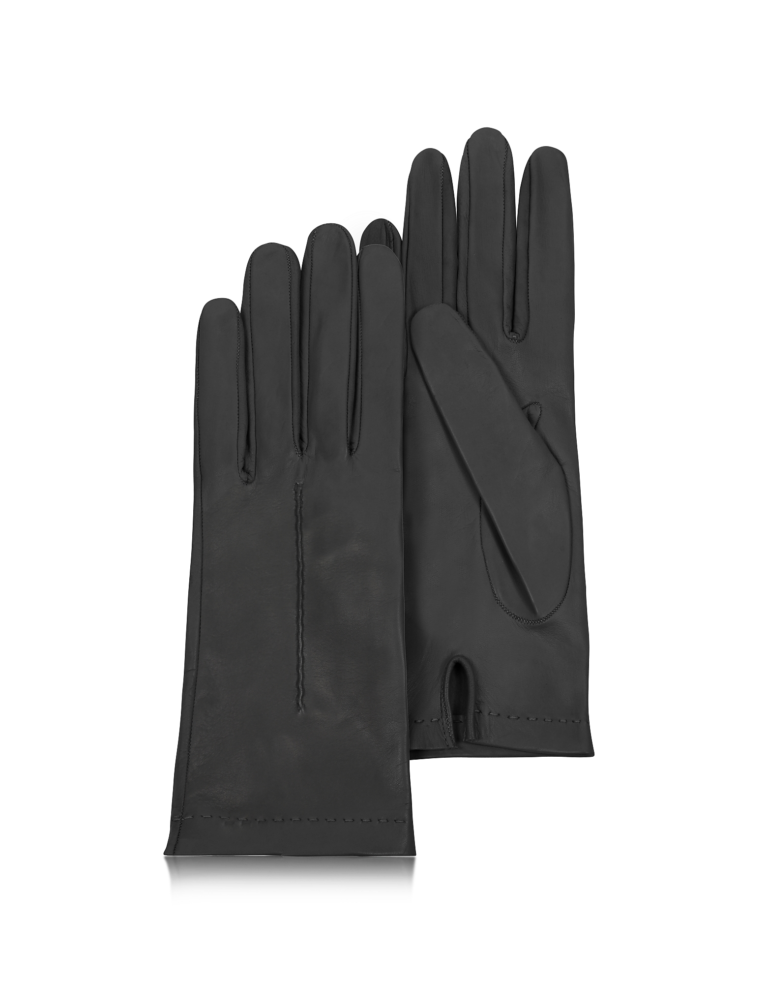 Forzieri Designer Women's Gloves, Women's Black Unlined Italian Leather Gloves