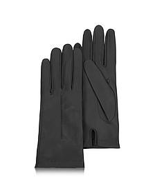Women's Black Unlined Italian Leather Gloves - Forzieri