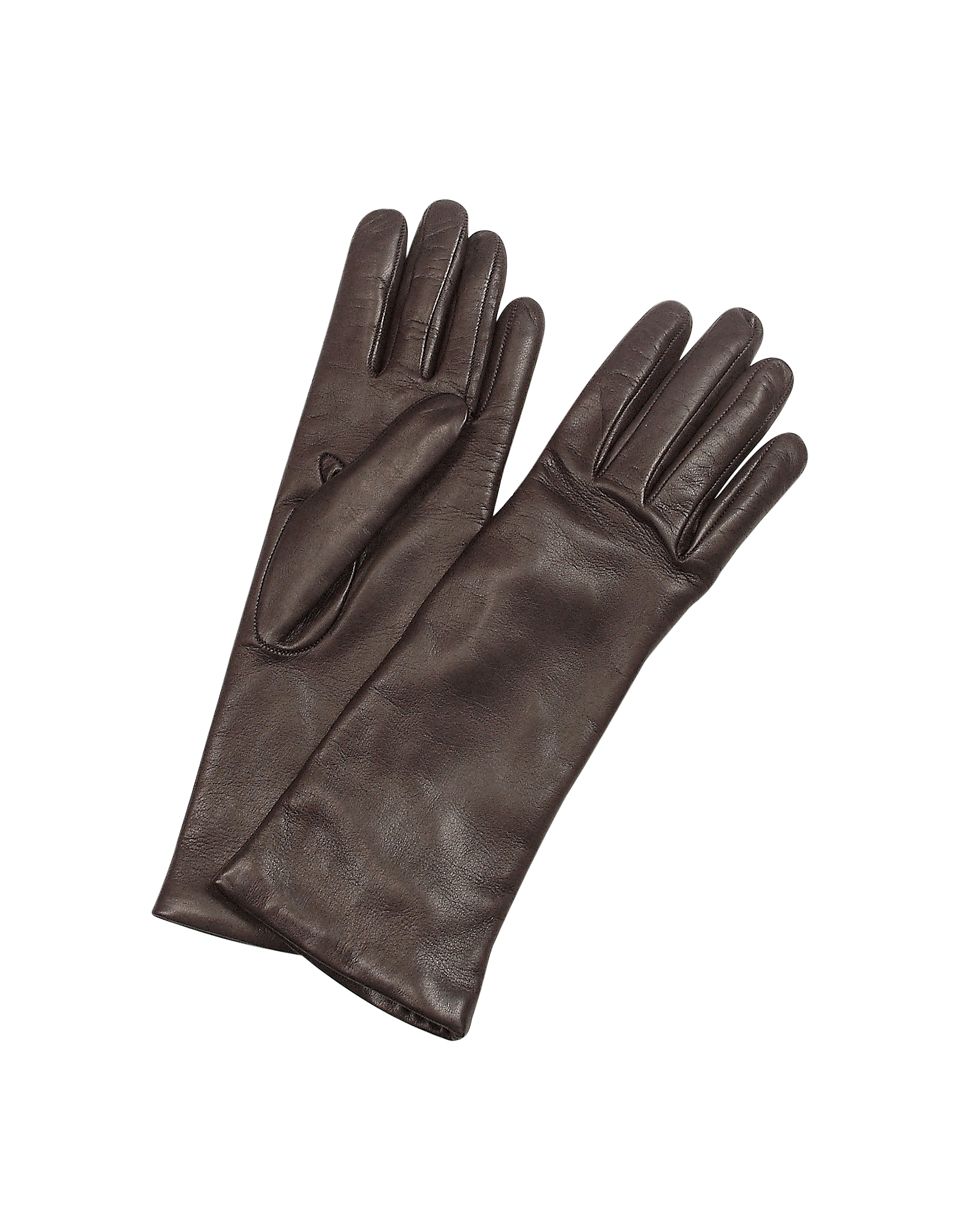 Forzieri Designer Women's Gloves, Women's Cashmere Lined Dark Brown Italian Leather Long Gloves