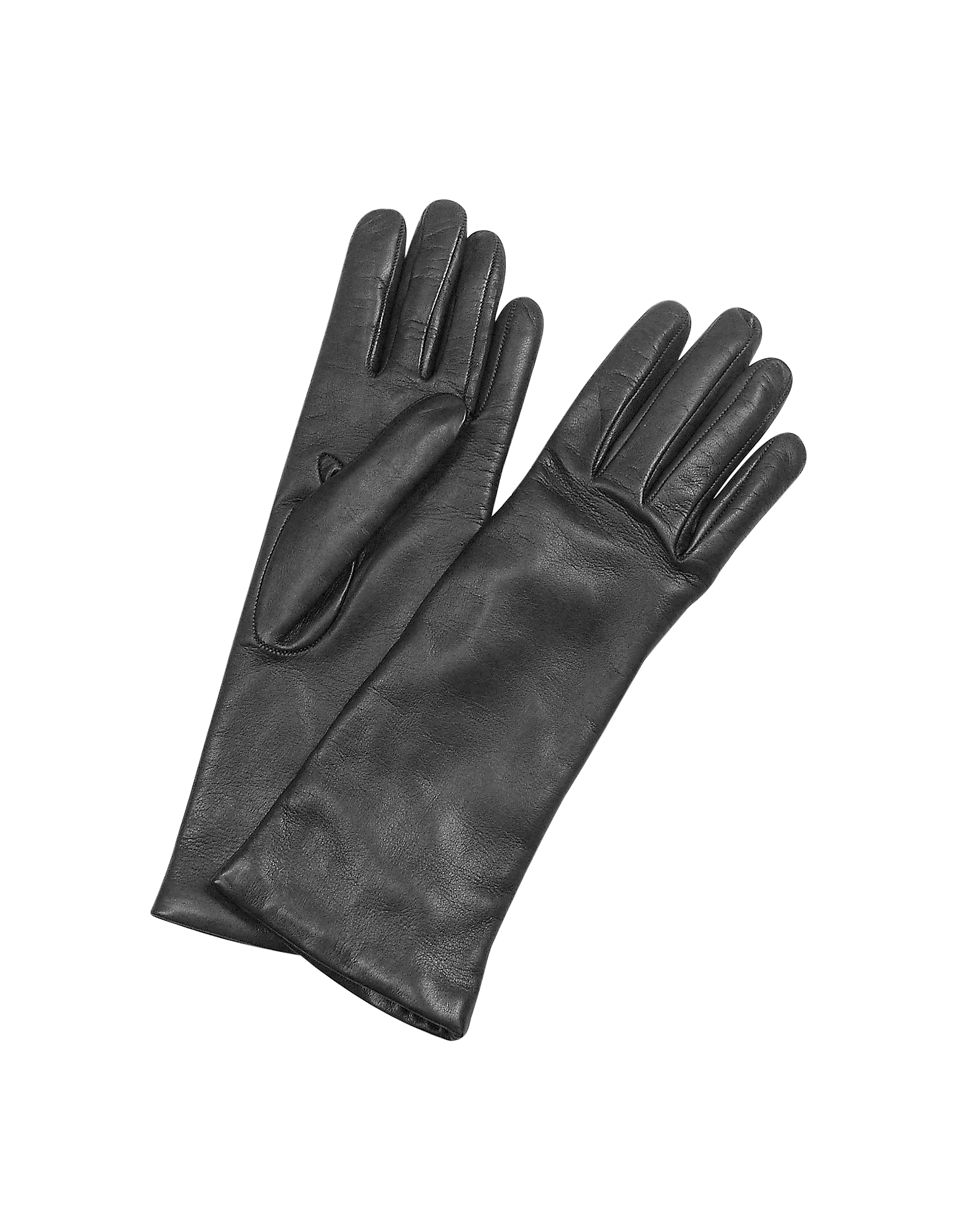 Forzieri Designer Women's Gloves, Women's Cashmere Lined Black Italian Leather Long Gloves