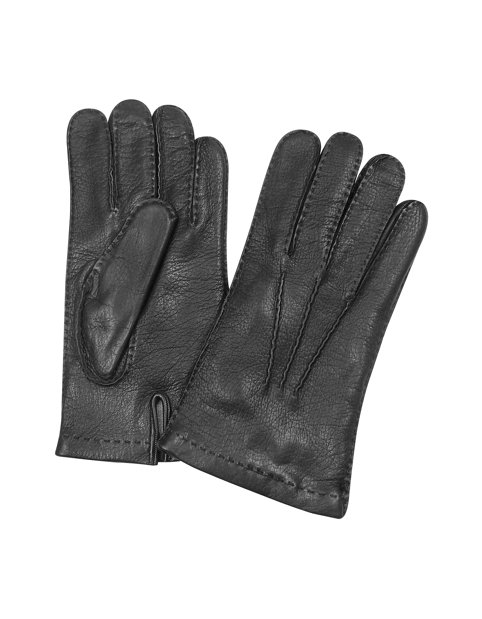 Forzieri Men's Gloves, Men's Cashmere Lined Black Italian Deer Leather Gloves