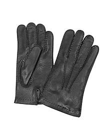 Herrenhandschuhe aus italienischem Leder und Kaschmir in schwarz - Forzieri