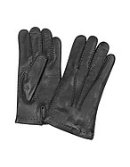 Lux-ID 208563 Men's Cashmere Lined Black Italian Deer Leather Gloves