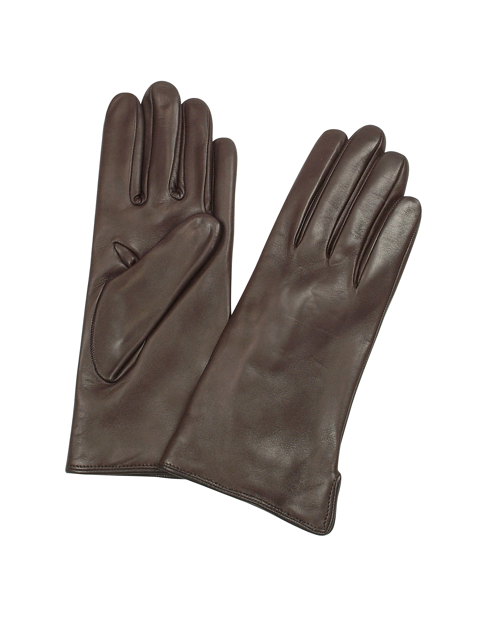 Forzieri Women's Gloves, Women's Dark Brown Cashmere Lined Italian Leather Gloves