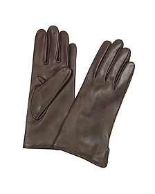 Women's Dark Brown Cashmere Lined Italian Leather Gloves  - Forzieri