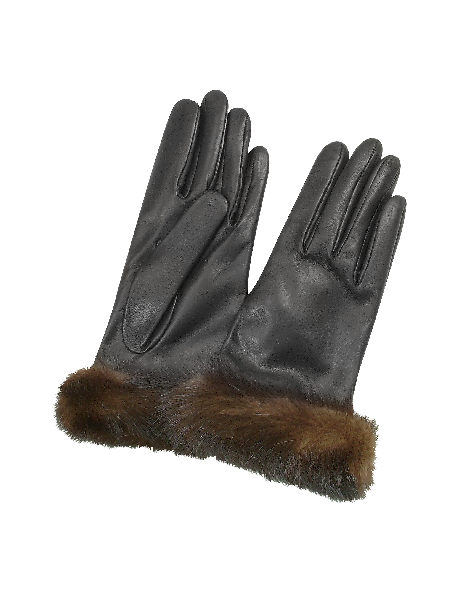 Forzieri Designer Women's Gloves, Women's Black Italian Nappa Leather Gloves