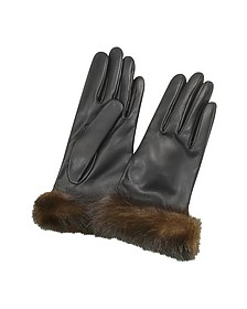 Women's Black Italian Nappa Leather Gloves - Forzieri