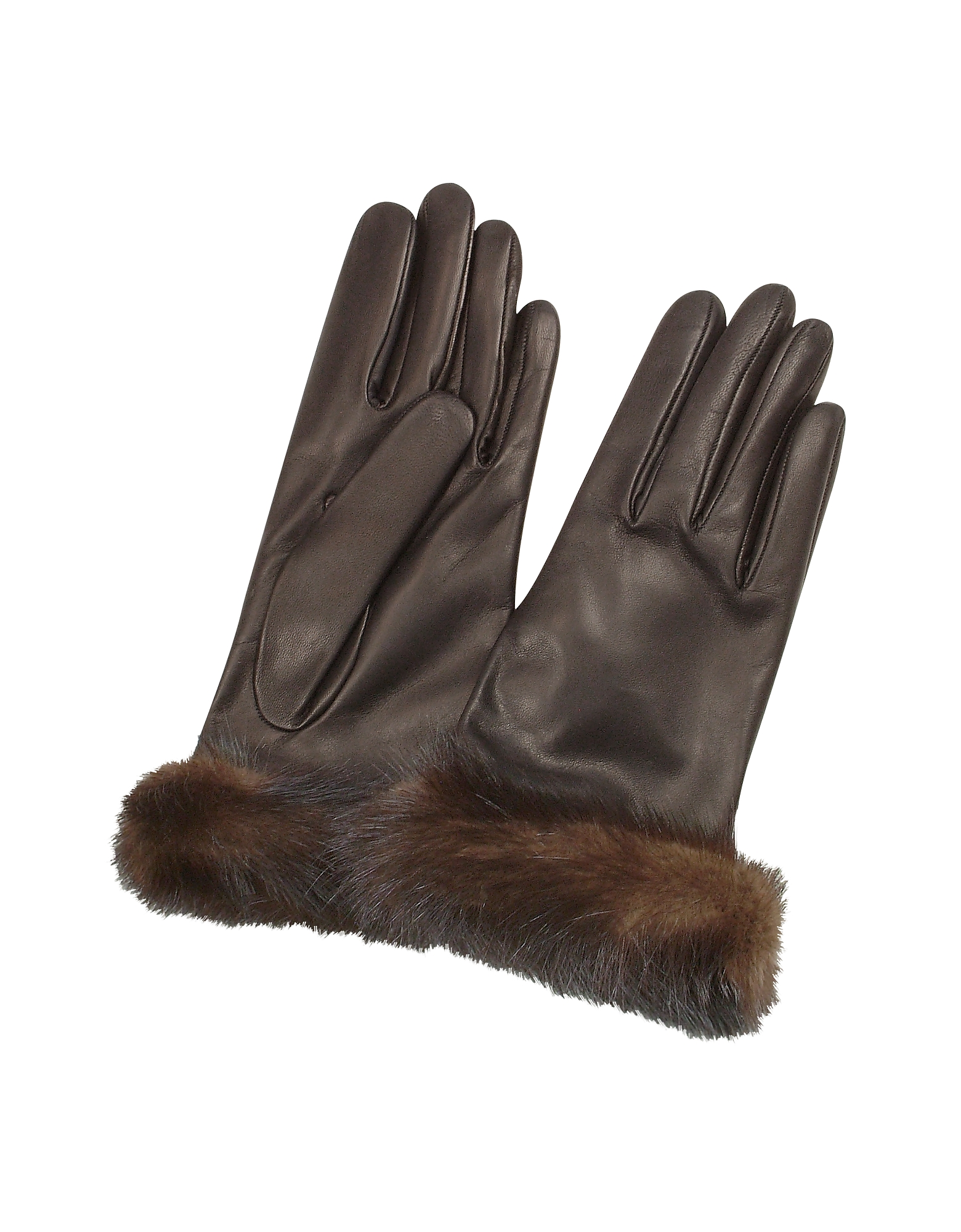 Forzieri Women's Gloves, Women's Dark Brown Italian Nappa Leather Gloves w/Mink Fur