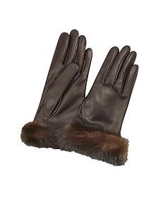 Women's Dark Brown Italian Nappa Leather Gloves w/Mink Fur - Forzieri