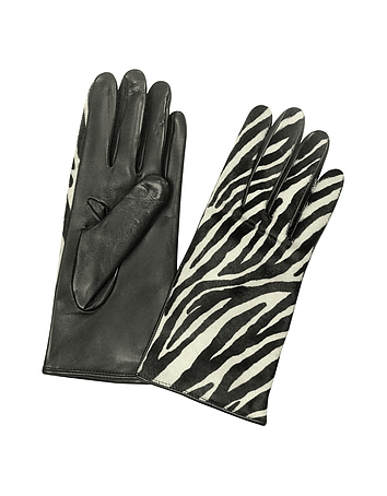 Women's Zebra Pony Hair and Italian Nappa Leather Gloves