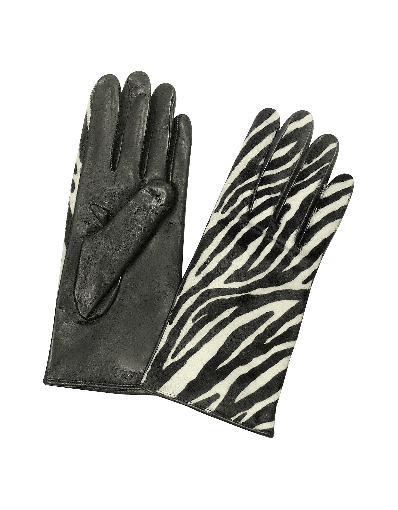 Forzieri Designer Women's Gloves, Women's Zebra Pony Hair and Italian Nappa Leather Gloves