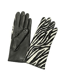 Women's Zebra Pony Hair and Italian Nappa Leather Gloves - Forzieri