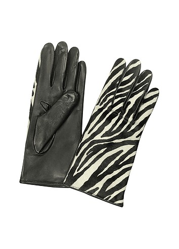 Forzieri Women's Zebra Pony Hair and Italian Nappa Leather Gloves :  luxury forzieri gifts leathergloves