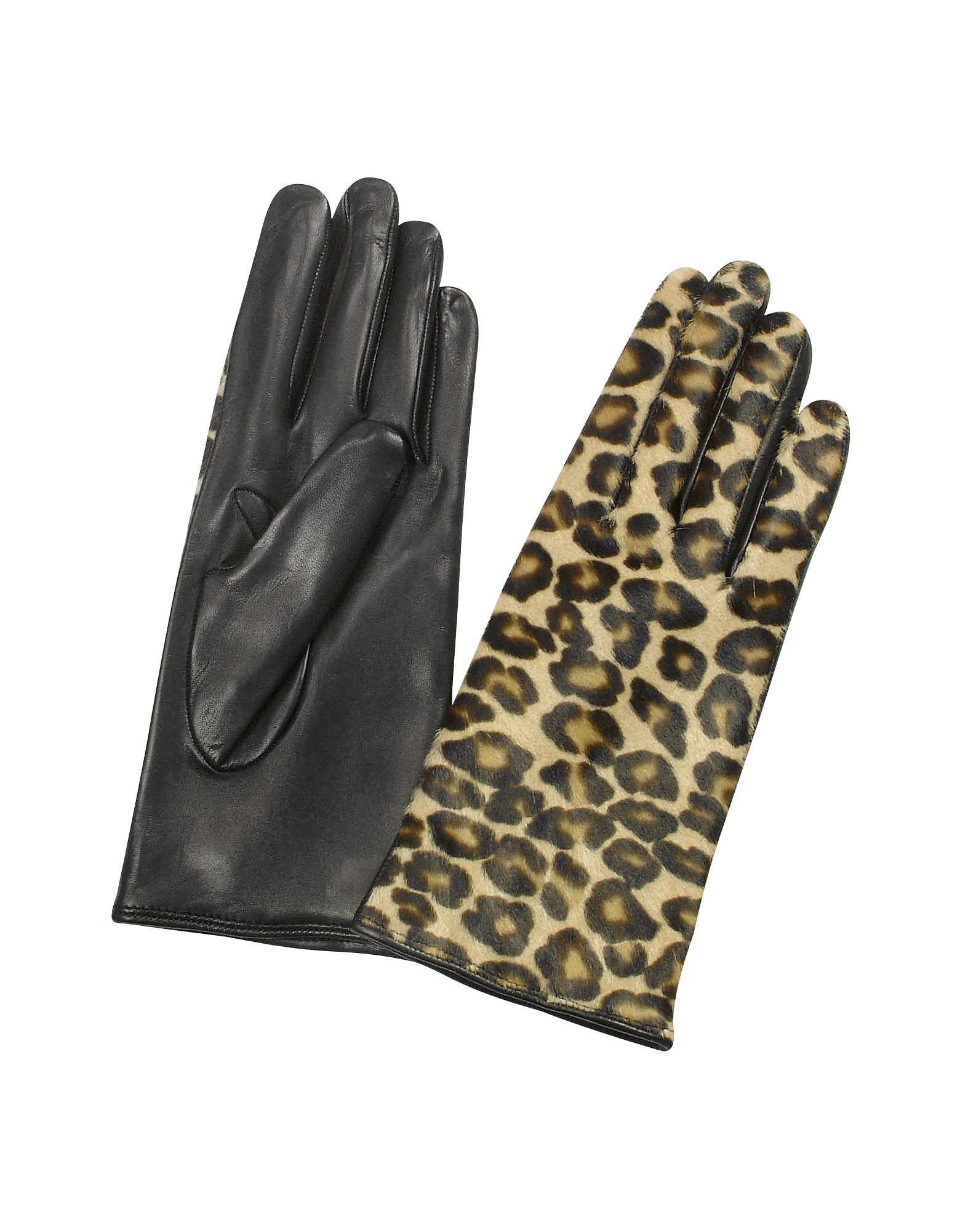 Forzieri Designer Women's Gloves, Women's Leopard Pony Hair and Italian Nappa Leather Gloves