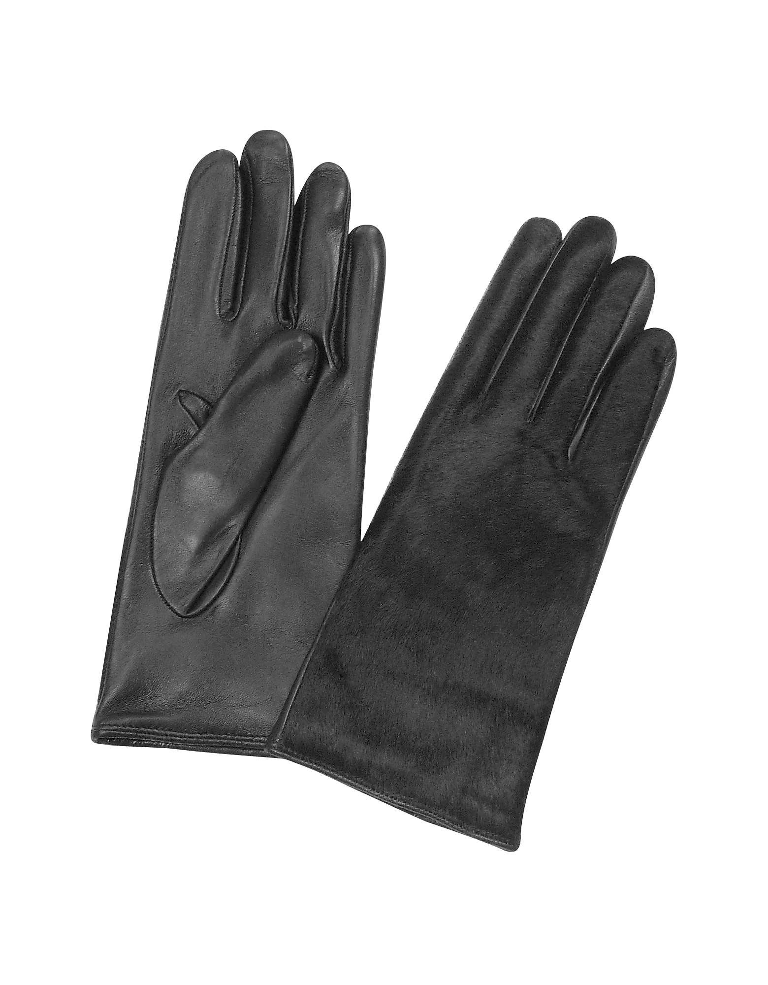 Forzieri Women's Gloves, Women's Black Pony Hair and Italian Nappa Leather Gloves