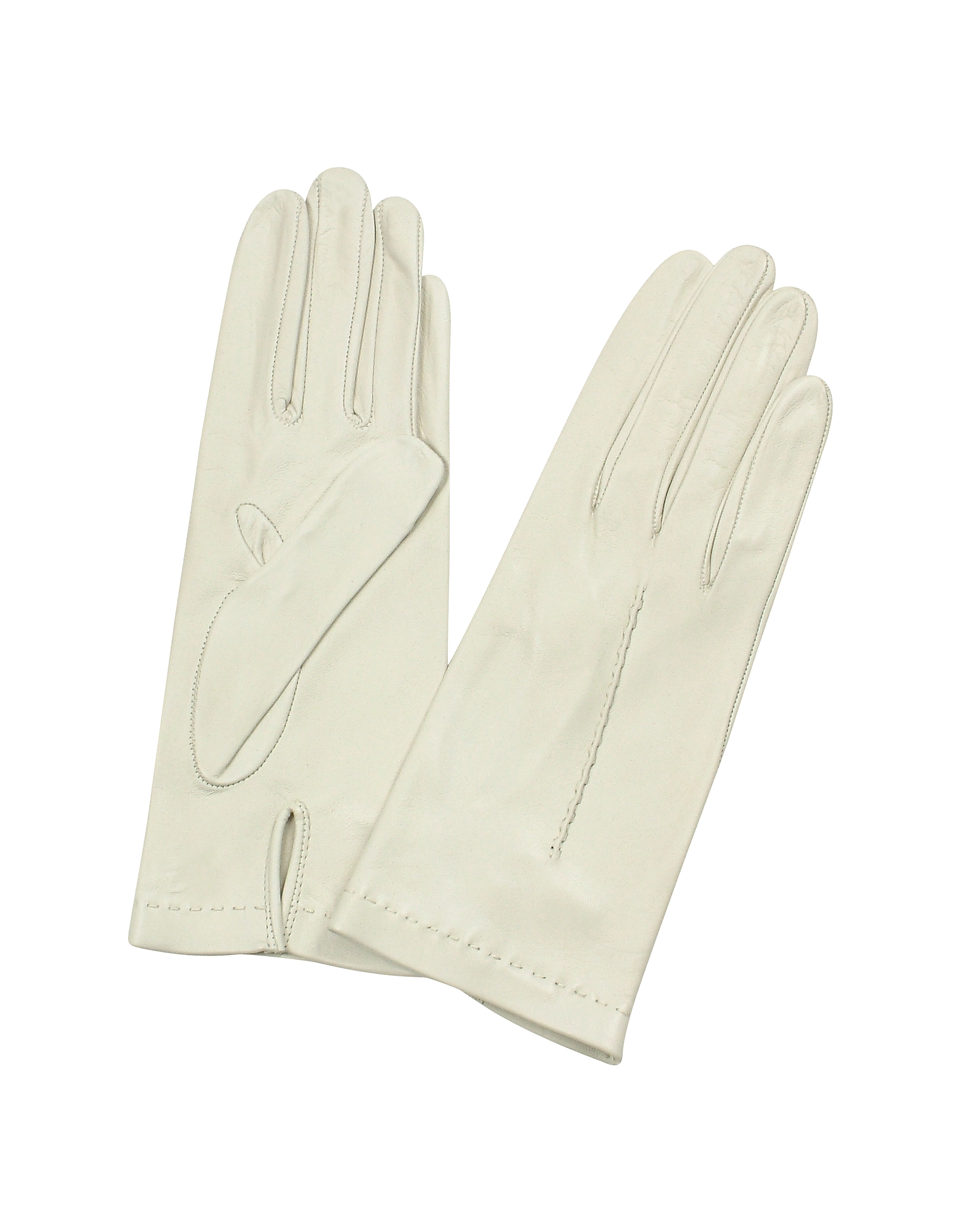 Women's Ivory Unlined Italian Leather Gloves