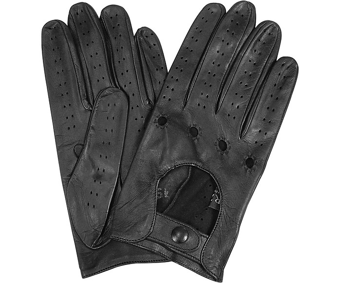 Men's Black Italian Leather Driving Gloves - Forzieri
