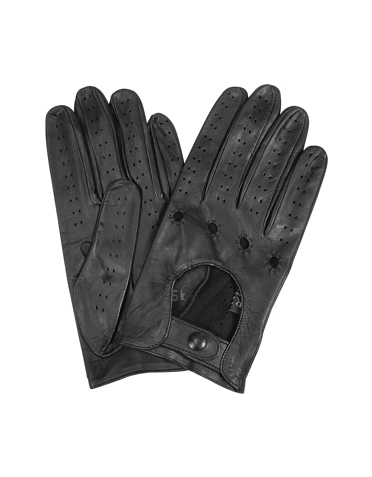 Forzieri Men's Gloves, Men's Black Italian Leather Driving Gloves