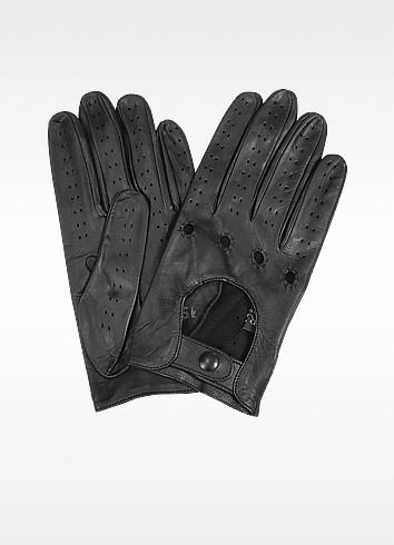 Men's Black Italian Leather Driving Gloves - Forzieri
