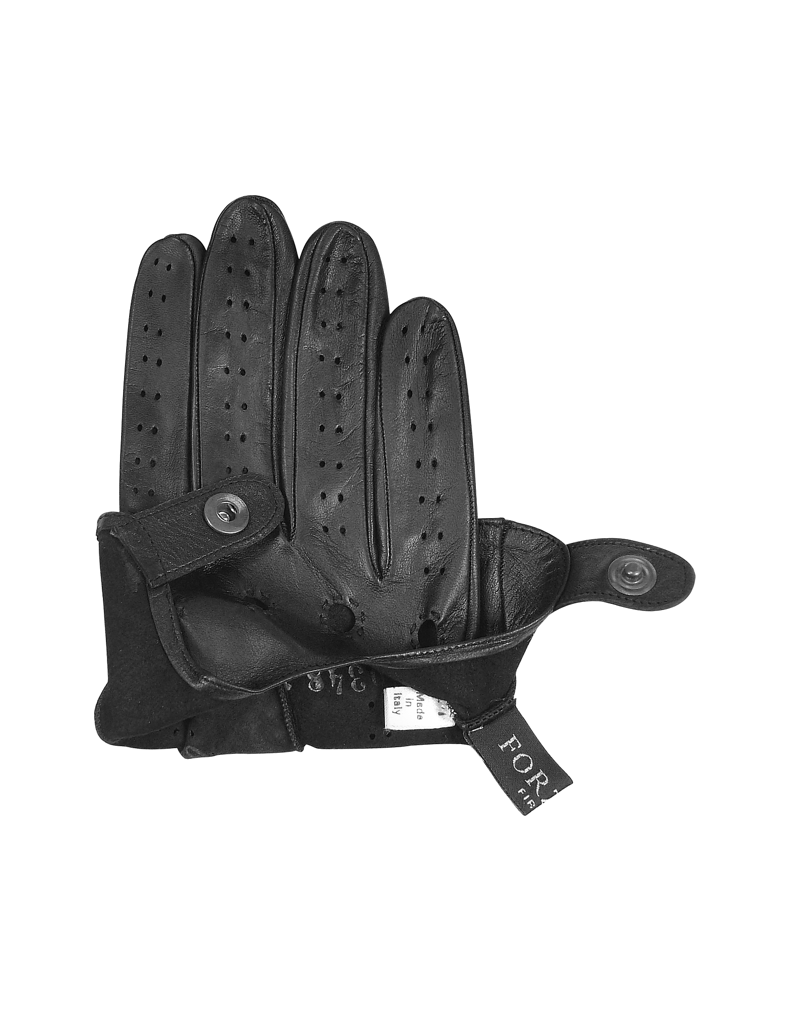 Men's Black Italian Leather Driving Gloves от Forzieri.com INT