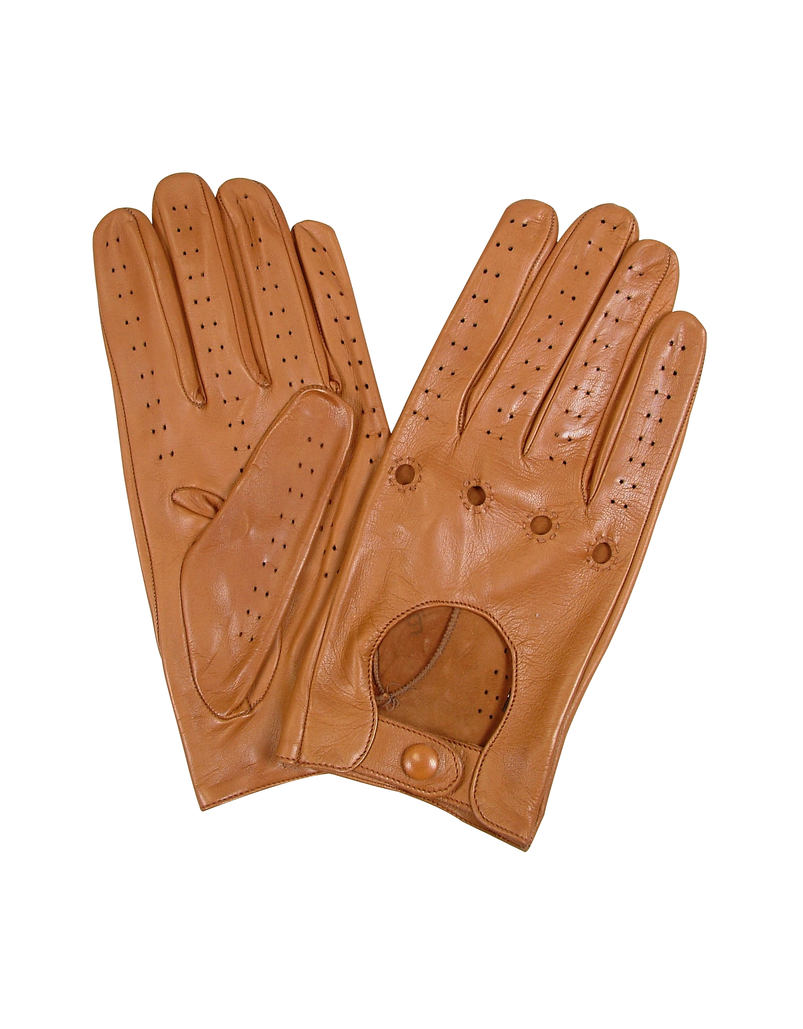 Forzieri Men's Gloves, Men's Tan Italian Leather Driving Gloves