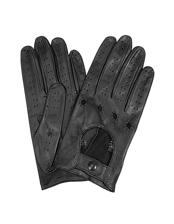 Women's Black Perforated Italian Leather Driving Gloves