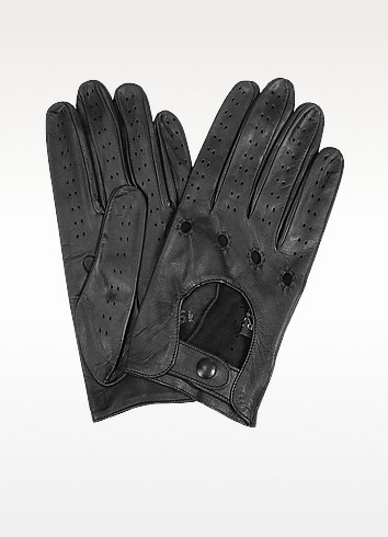 Women's Black Perforated Italian Leather Driving Gloves - Forzieri
