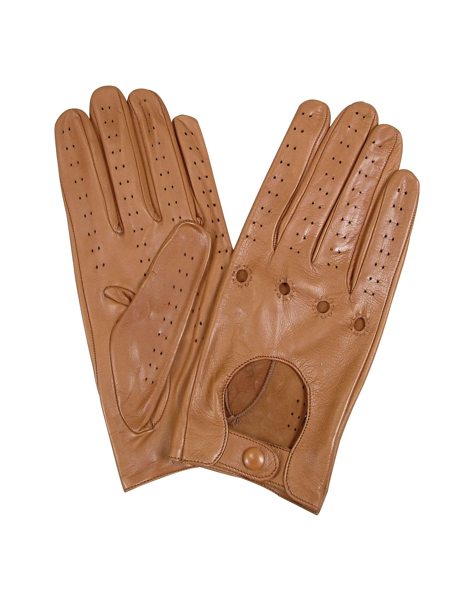 Forzieri Women's Gloves, Women's Tan Perforated Italian Leather Driving Gloves