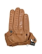 Women's Tan Perforated Italian Leather Driving Gloves - Forzieri