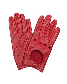 Women's Red Perforated Italian Leather Driving Gloves - Forzieri