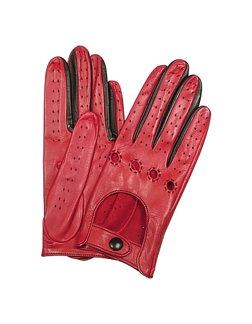Women's Red & Black Perforated Italian Leather Driving Gloves