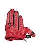 Women's Red & Black Perforated Italian Leather Driving Gloves - Forzieri