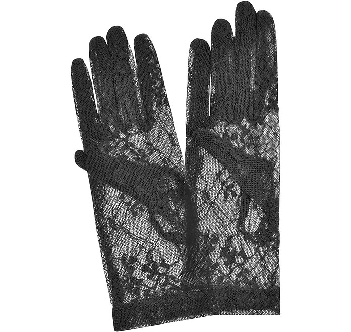 Women's Black Flowered Lace Gloves - Forzieri 福喜利