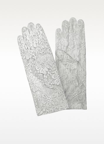 Women's White Flowered Lace Gloves - Forzieri