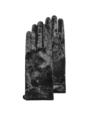 Forzieri - Women's Black Chenille Gloves