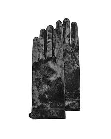 Women's Black Chenille Gloves - Forzieri