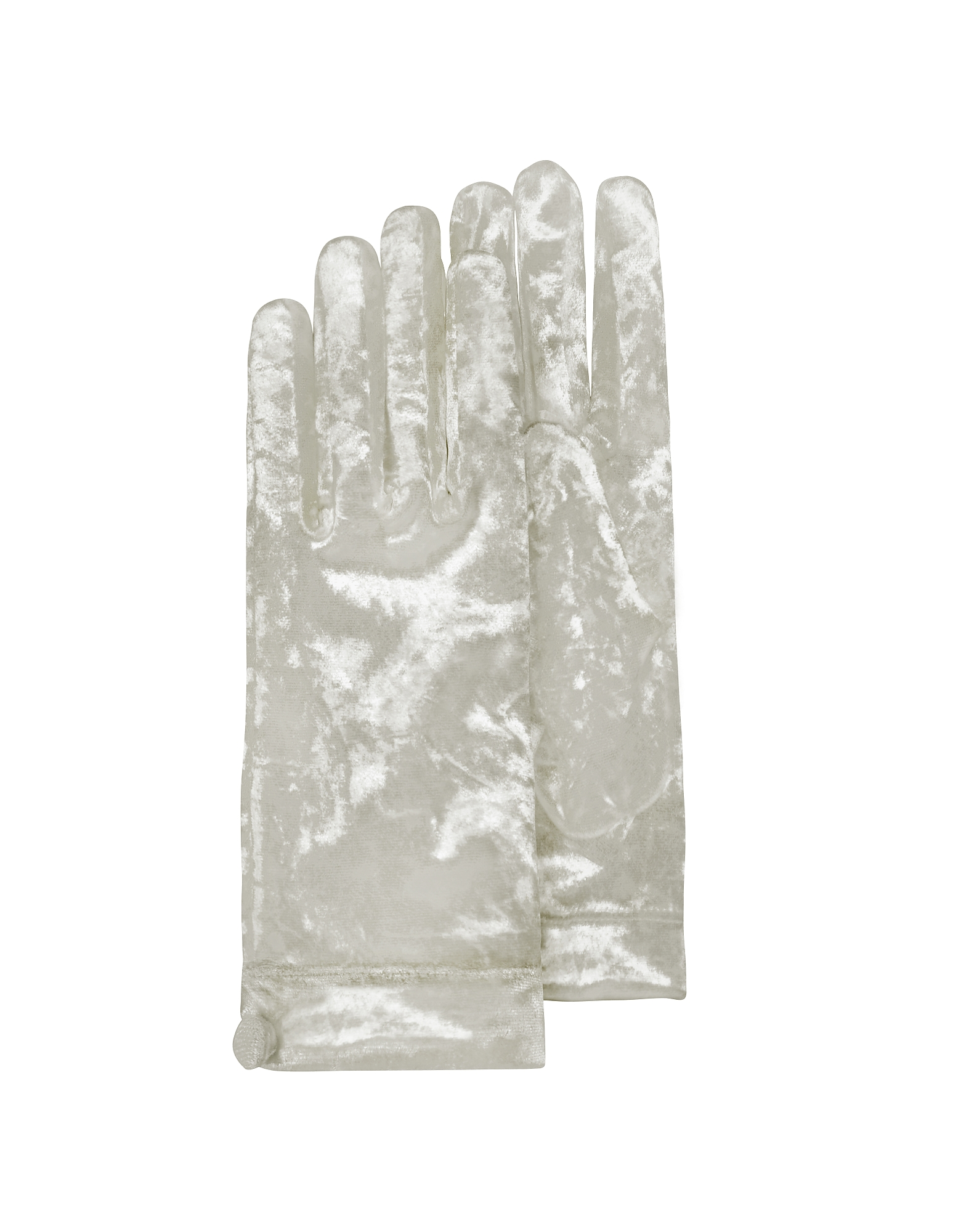 Forzieri Designer Women's Gloves, Women's White Chenille Gloves