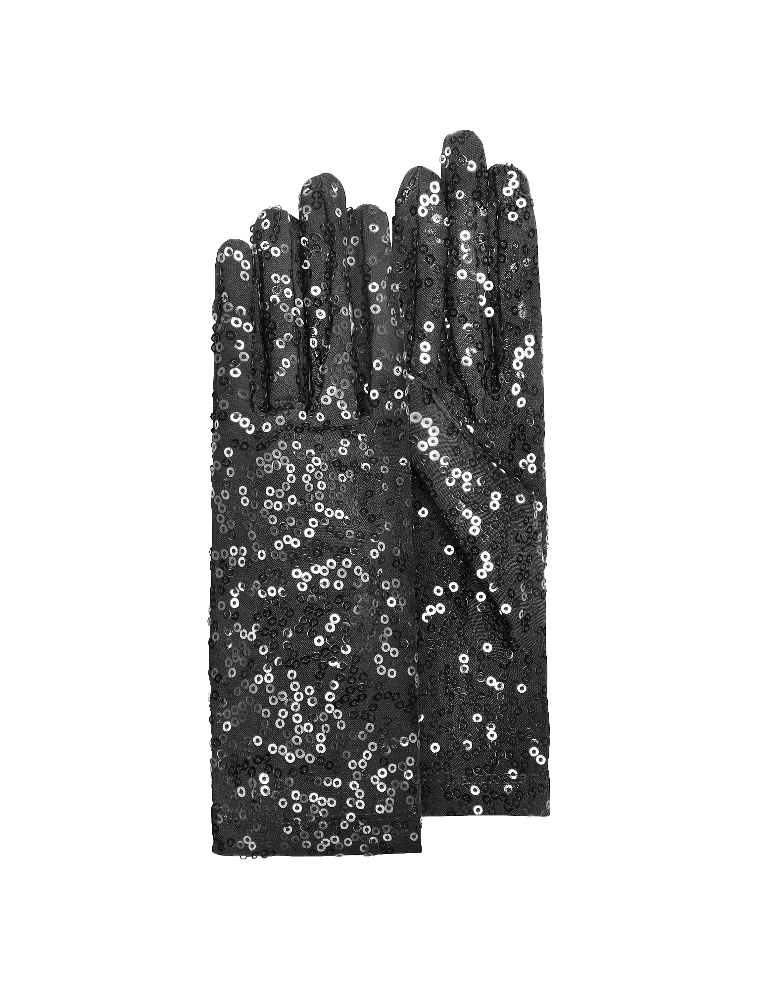 Forzieri Designer Women's Gloves, Women's Black Sequin Gloves