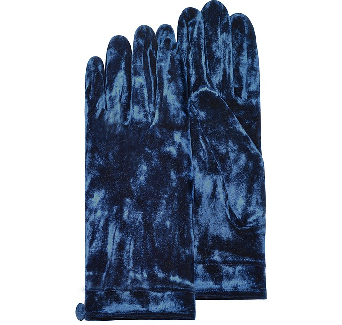 Women's Blue Chenille Gloves with Button - Forzieri