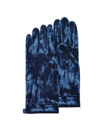 Forzieri Women's Blue Chenille Gloves with Button