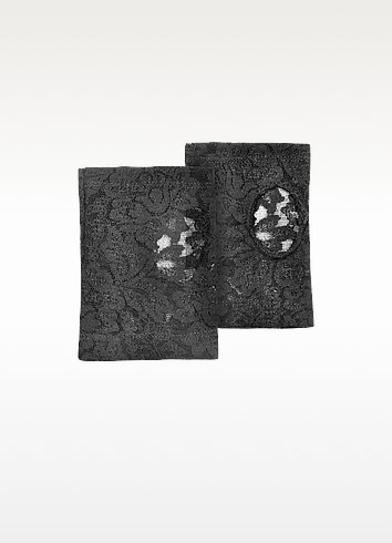 Women's Black Lace Fingerless Gloves - Forzieri