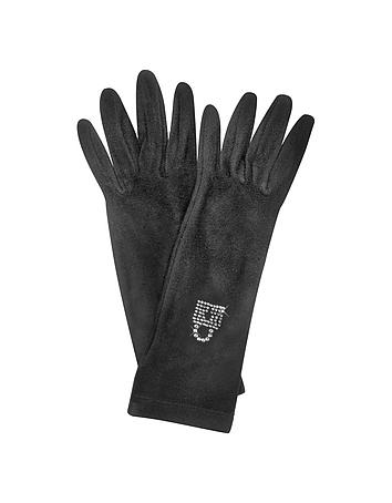 Forzieri - Rhinestone Black Gloves