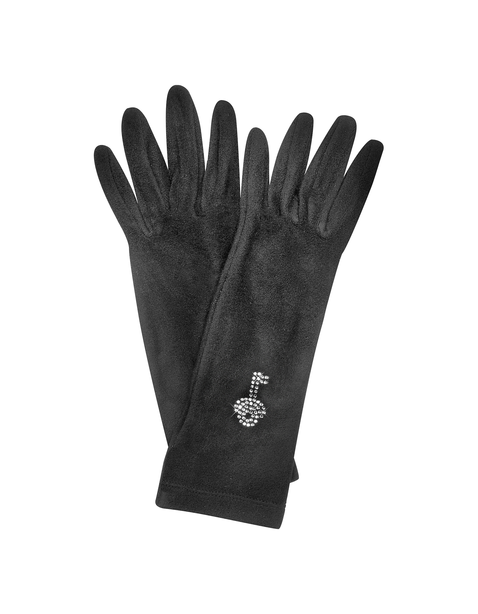 Forzieri Women's Gloves, Rhinestone Black Gloves