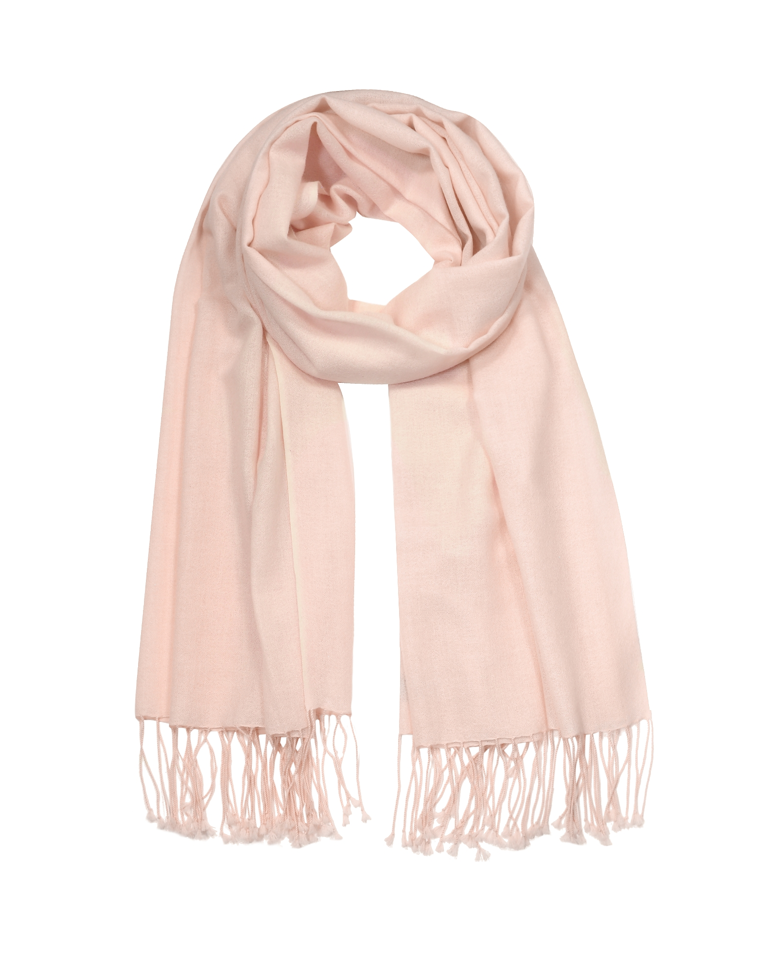 Forzieri Designer Scarves, Blossom Pink Silk and Pashmina Shawl