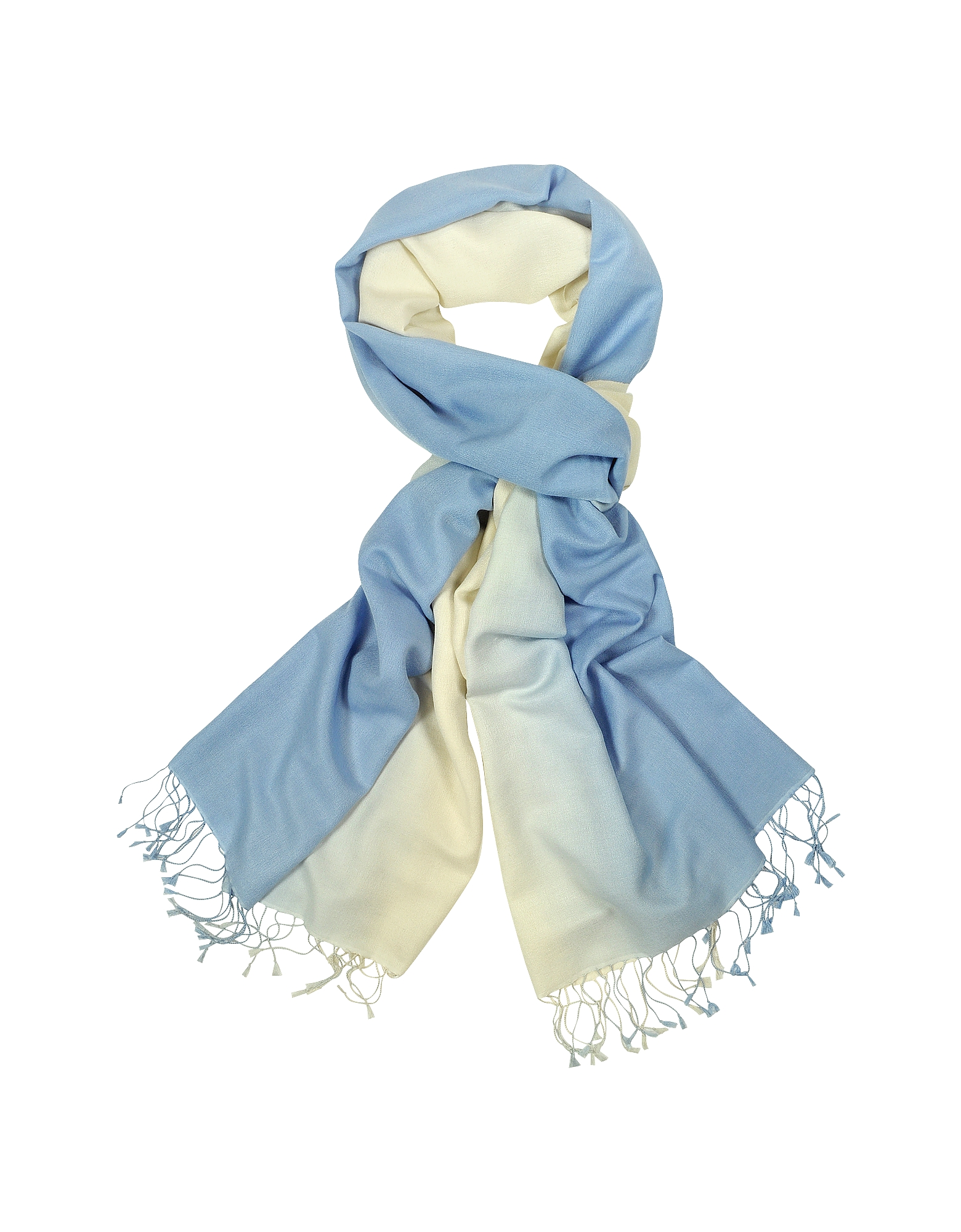 Forzieri Designer Long Scarves, Two Tone Pashmina and Silk Fringed Shawl