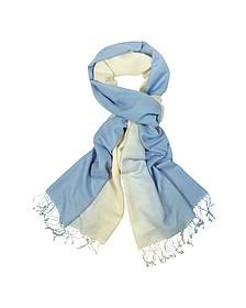 Two Tone Pashmina and Silk Fringed Shawl - Forzieri