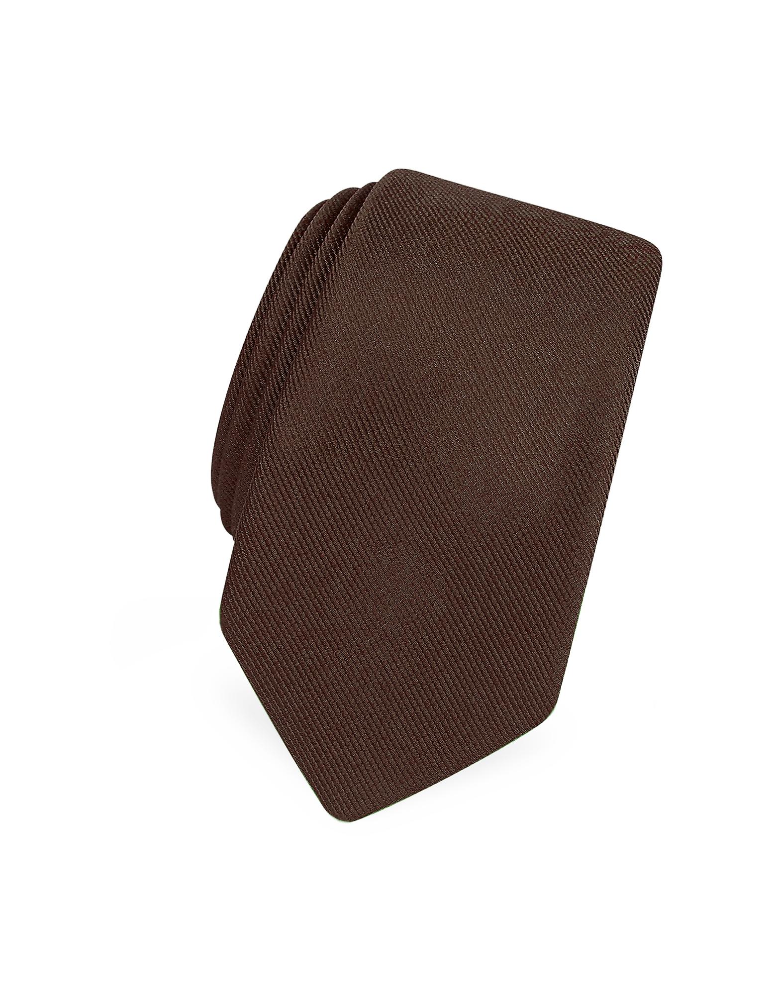 Solide Brun Twill De Soie Étroit Cravate